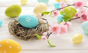 鲜花与复活节彩蛋特写摄影高清图片