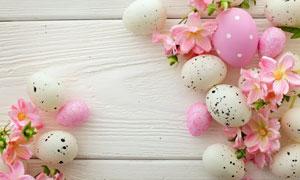 彩蛋与粉红的花朵特写摄影高清图片
