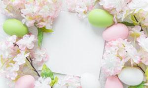 空白卡片与彩蛋鲜花等边框高清图片