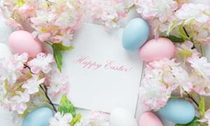 卡片与鲜花彩蛋组成的边框高清图片