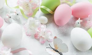 花朵与兔子蝴蝶装饰品摄影高清图片