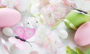 彩蛋缎带与花朵等特写摄影高清图片