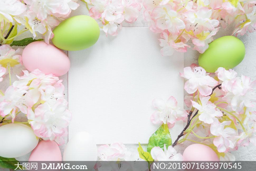 彩蛋花朵等复活节边框摄影高清图片