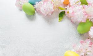 花朵与彩蛋摆放的边框摄影高清图片