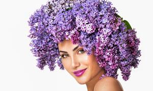 紫丁香发饰的红唇美女摄影高清图片