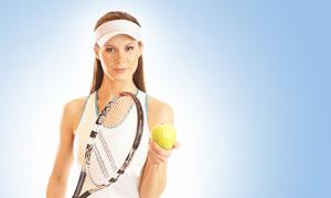拿着网球与球拍的美女摄影高清图片