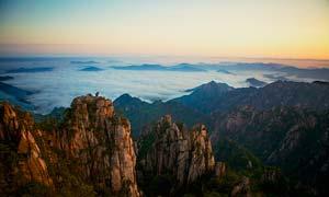 黄山云海美丽日出摄影图片