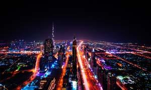 城市美丽夜景和高架桥摄影图片