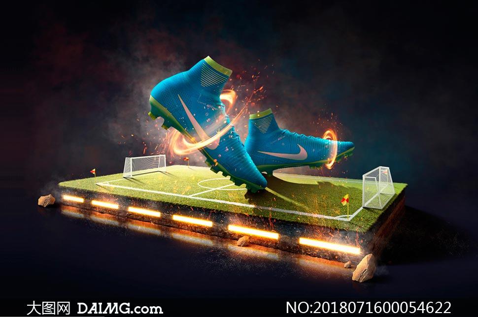 炫酷的运动鞋海报设计PS教程素材