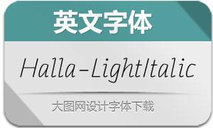 Halla-LightItalic(英文字体)
