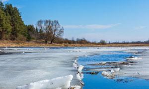 蓝天树木与融化的河面摄影高清图片
