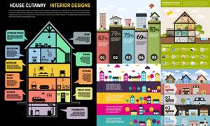 多款房子元素信息图表创意矢量素材