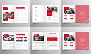 红色画册页面版式设计创意矢量素材