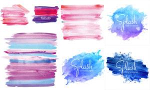水彩笔触与多彩喷溅图案等矢量素材