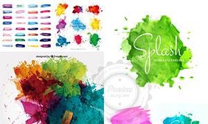 水彩笔触与颜料喷溅等创意矢量素材
