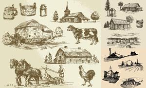 黑白手绘农业生产主题插图矢量素材