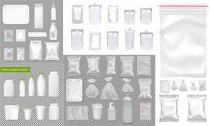 牛奶瓶與多種塑料保鮮袋等矢量素材