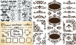 多样式的复古怀旧花纹边框矢量素材