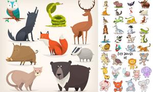 野猪与狐狸等卡通风格动物矢量素材