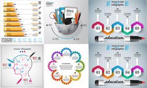 铅笔等元素教育信息图创意矢量素材