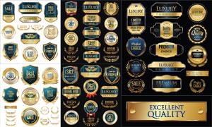 金色豪华风格标签纹章设计矢量素材