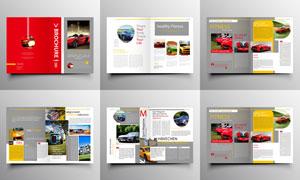 红色封面的多用途画册设计矢量素材
