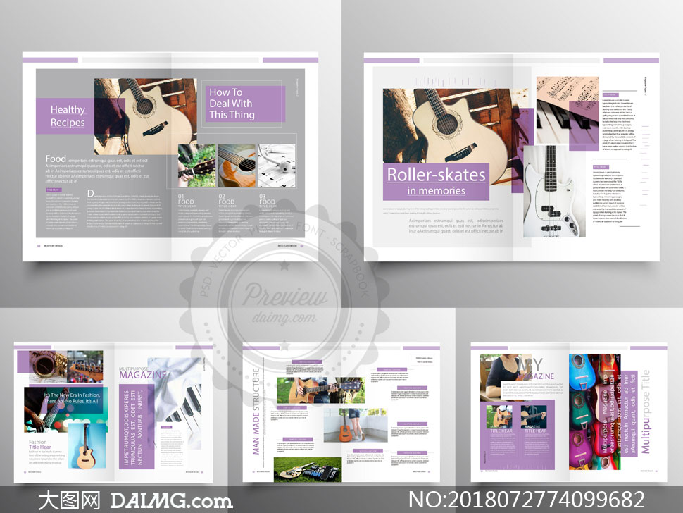 琴行乐器介绍画册版式设计矢量素材
