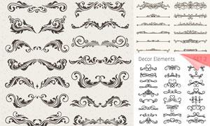 欧式古典花纹图案与分隔线矢量素材