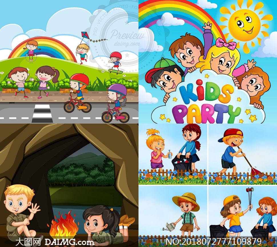 可爱卡通的小朋友儿童人物矢量素材