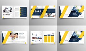 黄色主色调的通用画册设计矢量素材