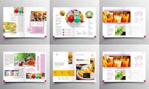 饮料甜品主题美食画册设计矢量素材