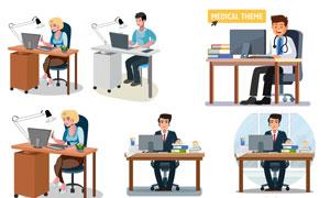 商务场景职场人物创意矢量素材V02