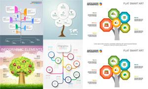 树形结构信息图表创意设计矢量素材