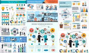 数据安全与商务等信息图表矢量素材