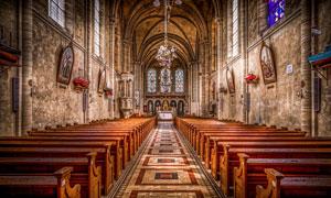 欧式风格的大教堂内景摄影高清图片