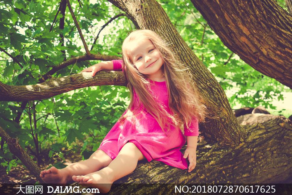 在大树上的金发小女孩摄影高清图片