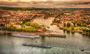 德国科布伦茨风光鸟瞰摄影高清图片