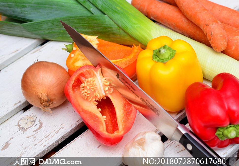 大葱辣椒与大蒜洋葱等摄影高清图片