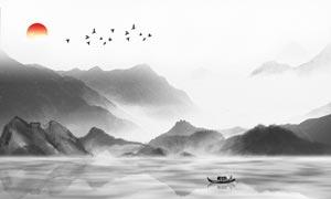中國風山水畫電視背景墻設計PSD素材