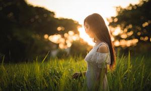 走在草丛中的长发裙装美女高清图片