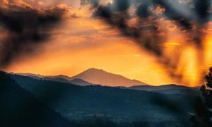 山间树木黄昏美景风光摄影高清图片