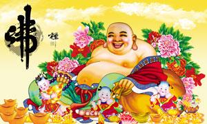 中国传统佛文化插画海报PSD素材