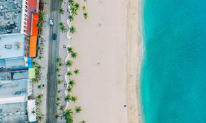 沙滩风景与平静的海面摄影高清图片