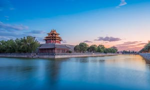 北京紫禁城夕陽美景攝影圖片