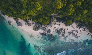 海水与岛上的树木鸟瞰摄影高清图片