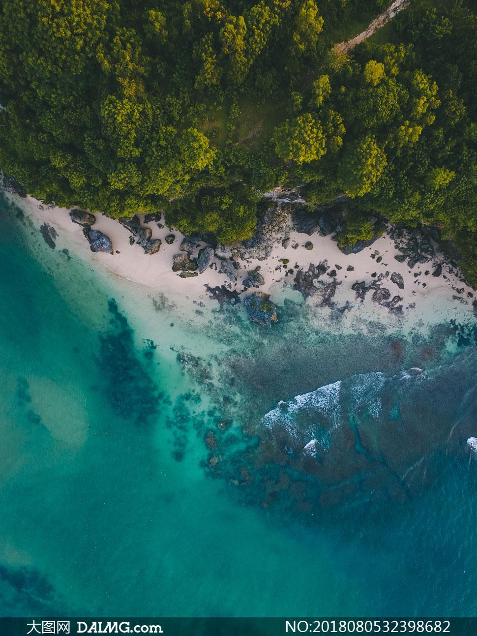 高清摄影大图图片素材自然风景风光树木树林茂密茂盛鸟瞰俯瞰岛屿海水