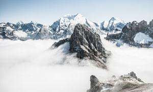 云海中的群山自然风光摄影高清图片