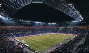 承办大型足球赛事的体育场高清图片