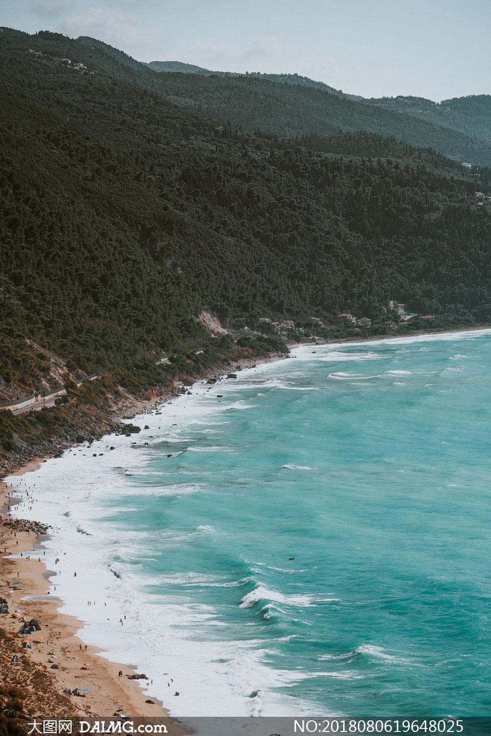 高清摄影大图图片素材自然风景风光大山高山山峰山峦植被海水海景大海
