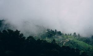 被云雾笼罩的盘山小路摄影高清图片